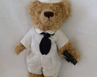 Handmade OOAK Jointed Art Bear Sailor Teddy Bear with Binoculars ~ USN ~ Navy ~ Maritime ~ Sailing ~ Military