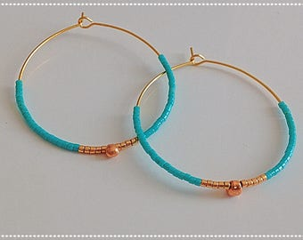 Myiuki hoops withe golden plated Myiuki beads