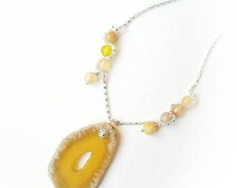Yellow chalcedony pendant gemstone silver chain boho necklace agate beads locket gemstone jewelry gift for her for Mom unique beaded glamor