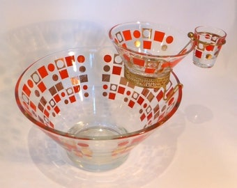 Large glass chip & dip set – original from the 1960s