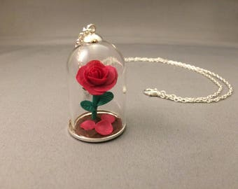 Beauty and the Beast necklace, Sale, pink rose, fallen petals, pink beauty and the beast, wedding, Beauty beast wedding, forever rose, roses