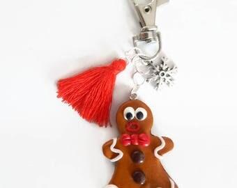 Christmas gingerbread man fimo theme keychain