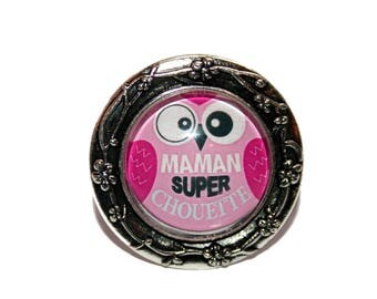 """Super cool MOM"" ring in shades of pink and Fuchsia"