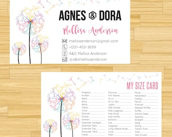 PRINTABLE Agnes and Dora My Sizes Card, Size Cards, Business Card, Business Cards, Digital File AG014