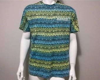 Vintage Tiki T-shirt - Surfer shirt - Color Blue and Yellow - Size Large