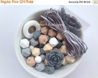 SALE 100 BULK Silicone Teething Beads, White, Beige, Oatmeal, Light Gray & Gray Silicone Beads, Bulk Silicone Beads Wholesale