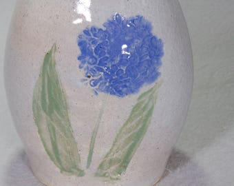 Small Oval Wheel Thrown Gray Stoneware Vase with Hand Carved and Painted Blue Flowers