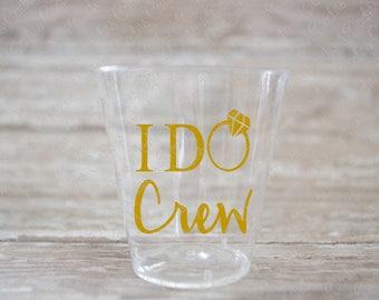 I Do Crew Bachelorette Party Plastic Shot Glasses - Metallic Gold