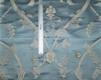 SCHUMACHER FRENCH ACANTHUS Shimmering Twirls & Scrolls Silk Blend Damask Fabric 10 Yards Sky Blue Opal