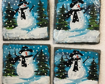 "4 Hand Painted SNOWMAN On Slate Blue Background SNOWMEN Rustic 3.5"" Slates"