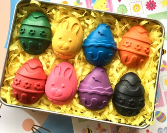 Easter Crayons Gift Tin | Easter Egg Crayons | Easter Gift | Easter Bunny | Easter Egg Hunt | Gifts for children | Easter Party Favours