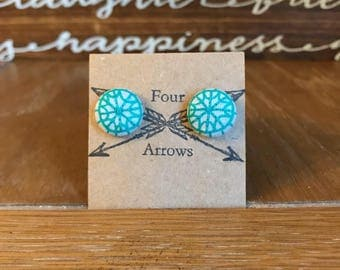 Teal mandala style hand embroidered fabric earrings