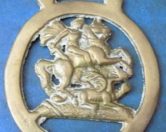 Rare vintage HORSE BRASS  George and the Dragon Style Design Made in England