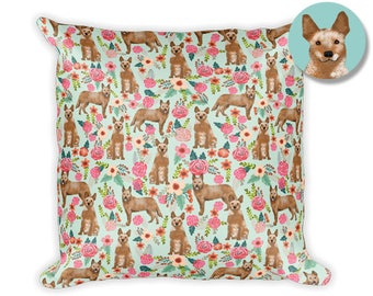 "Australian Cattle Dog Red Heeler Floral Square Pillow - 18""x18"""