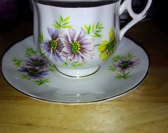 """Royal Dover """"October Cosmos"""" Tea Cup and Saucer"""