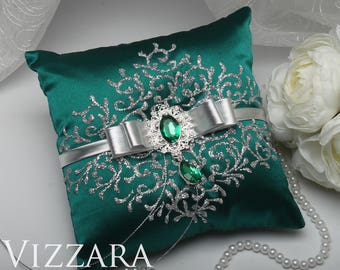 Ring pillows Teal wedding Wedding ring pillow Teal and silver wedding Unique ring pillow ideas Teal & Unique ring pillow   Etsy pillowsntoast.com