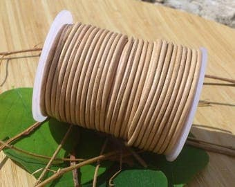 Leather cord natural 2mm with 0.5 m