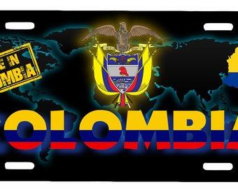 "Colombia Aluminum License Plate Placa  6"" x 12"""