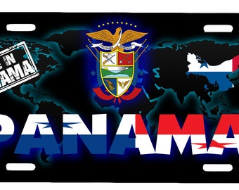 "Panama Aluminum License Plate Placa  6"" x 12"""