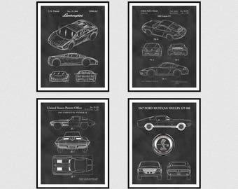 Sports Car Patents Set of 4 - 2004 Lamborghini Patent - 1998 Porsche 911 Patent- 1962 Corvette Stingray Patent - 1967 Ford Mustang Shelby