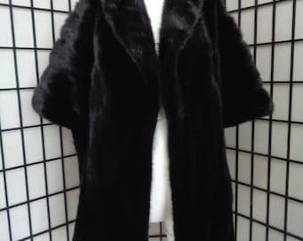 Refurbished new black mink fur stole shawl wrap for women woman custom made