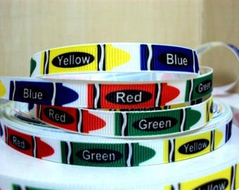 3/8 inch COLORFUL Crayons COLORS Kinder - Back to schooL - Printed Grosgrain Ribbon