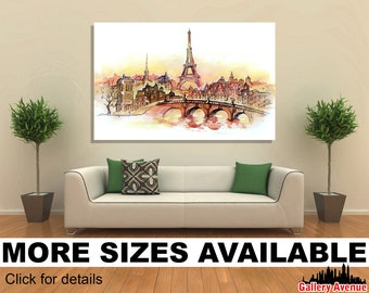 Wall Art Giclee Canvas Picture Print Gallery Wrap Ready to Hang Sunset in Paris, Eiffel Tower 2 60x40 48x32 36x24 24x16 18x12 3.2