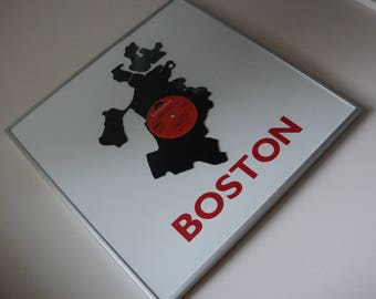 Framed Boston Neighborhood Vinyl Record Wall Art