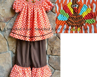 Hand Smocked girls ruffled pants Thanksgiving Turkey orange polka dot dress
