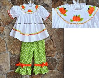Smocked girls ruffled pants set outfit Thanksgiving pumpkin turkey orange lime green dress