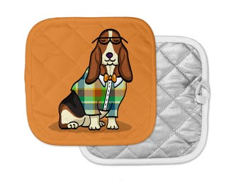 "Basset Hound Potholder - ""Basset Hound Geek"" Basset Hound Pot Holder - Choose Background Color - Basset Hound Gift"