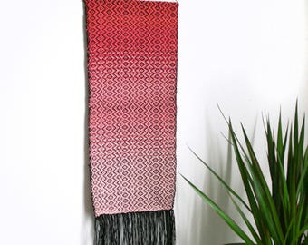 Handwoven Pink Gradient Diamond Geometric Pattern Weaving Textile Art Wall Hanging Tapestry