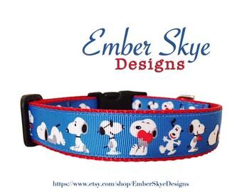 "Snoopy Adjustable Dog Collar 1"" Width"