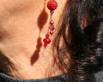 Red long earrings with Rhinestones