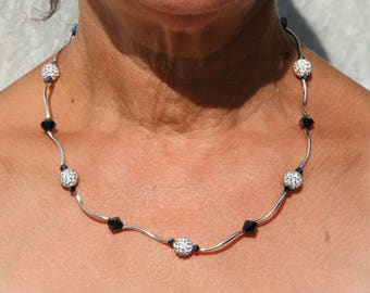 Black and white necklace with Rhinestones