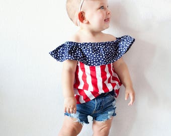 Ruffle neck top- Ruffle neck stars ans stripes top- off the shoulder top