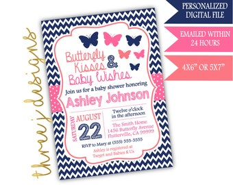 Butterfly Baby Shower Invitation - Navy Blue, Pink and Coral - Digital File - J003