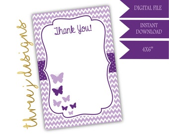 Butterfly Baby Shower Thank You Card - INSTANT DOWNLOAD - Plum and Lavender - Digital File - J004