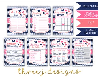 Butterfly Baby Shower Game Package - Bundle of 7 Games - INSTANT DOWNLOAD - Navy Blue, Pink and Coral - Digital Files - J003