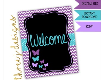 Butterfly Baby Shower Welcome Sign - INSTANT DOWNLOAD - Purple and Teal - Digital File - J001