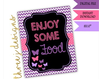 Butterfly Baby Shower Food Table Sign - INSTANT DOWNLOAD - Purple and Pink - Digital File - J002