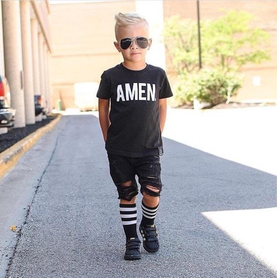 Black Distressed Shorts // Boys Skinny Ripped Shorts // Trendy