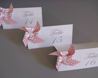 Table number windmill patterned origami peach dots chevron for wedding table decoration - christening