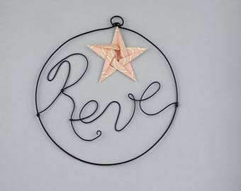 Handmade word in wire - dream - origami star - wall decor - baby girl room - living room - gift - wedding decoration