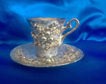 Vintage Pedistal Demitasse Cup and Saucer, Hand Decorated in Beads & Pearls