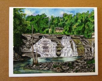 Appalachian Trail Greeting Card - Connecticut Waterfall - Blank Fine Art Notecard