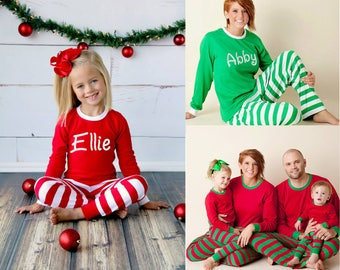 Personalized Christmas Pajamas - Embroidered Monogram Christmas Pj's - Red and White Stripe Christmas Pajamas for the family