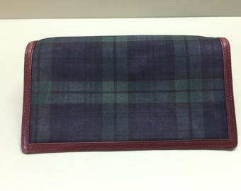 SALE / Polo by RALPH LAUREN Black Watch Plaid and Leather Wallet
