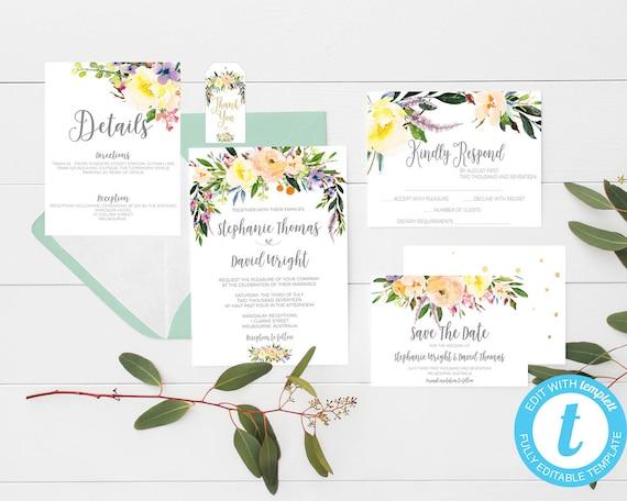 Printable Wedding Invitation Willow Wedding Invitations Yellow