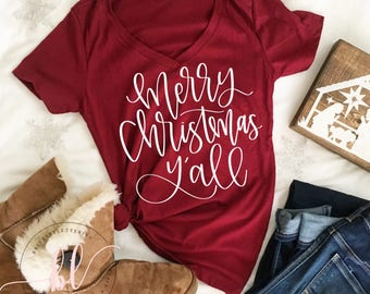 Merry Christmas Y'all SVG - Merry Christmas Y'all - Hand Lettered SVG